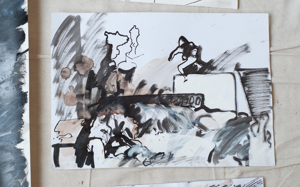 Mike Hewson: Sketch Study For Visions Of The View - 69 Cathedral Square, Christchurch CBD, NZ