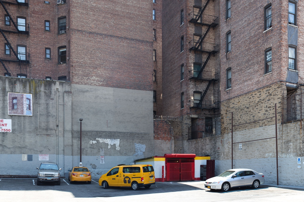 Mike Hewson: (View of original window top right) - McDonald's Parking Lot, 125th St and Broadway, Harlem