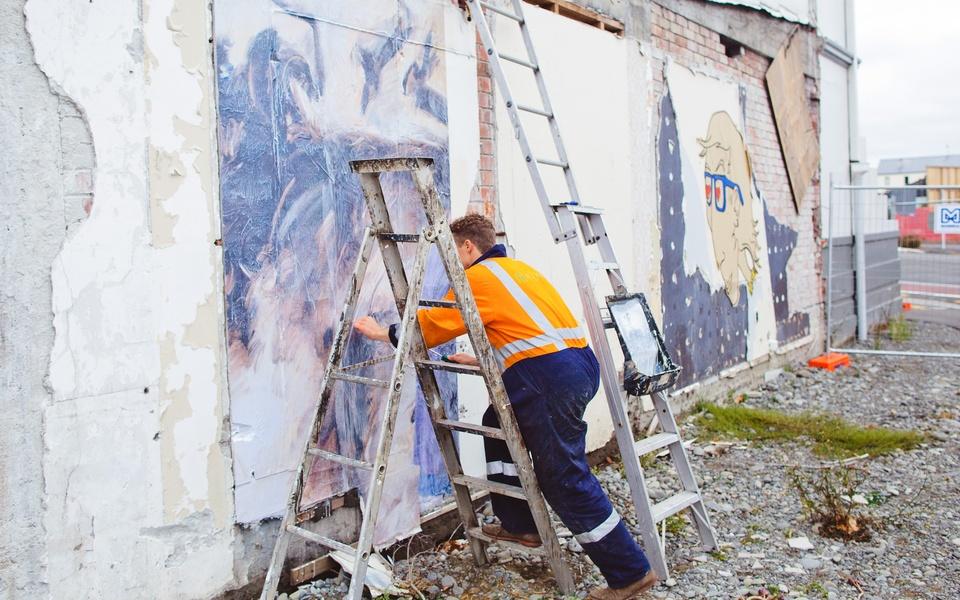 Mike Hewson: (During installation) - Victoria Mansions, Victoria St, Christchurch, NZ