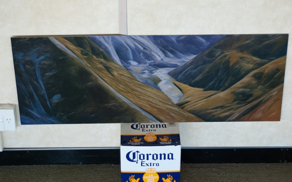Mike Hewson: Waimakariri River Valley - Artist's studio, Cathedral Sq, Christchurch, NZ