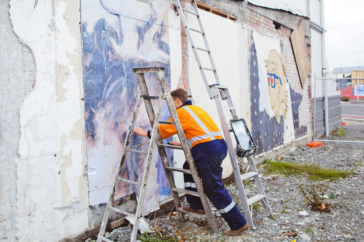 Mike Hewson: (During installation) - Victoria Mansions, Victoria St, Christchurch, NZ