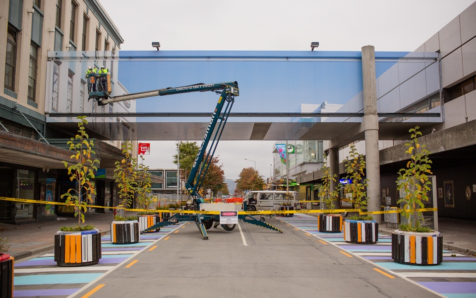 Mike Hewson: (During installation) - Cnr Colombo St & Cashel Mall, Christchurch, NZ
