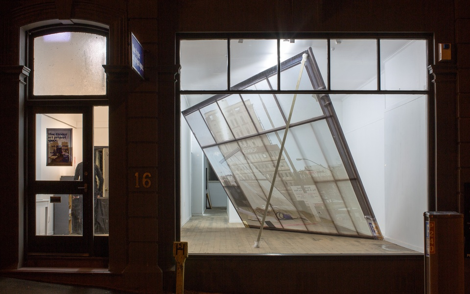 Mike Hewson: (Installation View - Exterior Night time) - Blue Oyster Art Project Space, 16 Dowling St, Dunedin, NZ