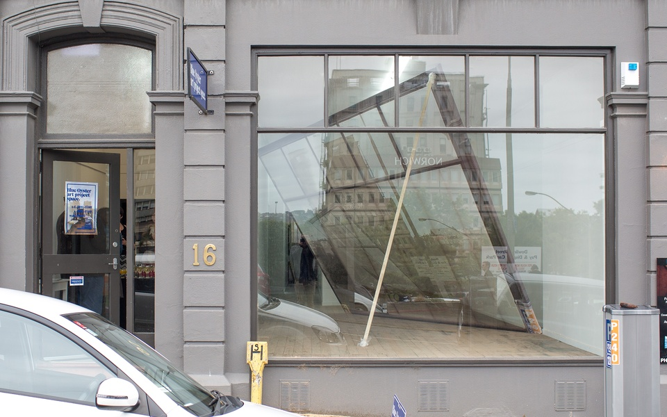 Mike Hewson: (Installation View - Exterior Daytime) - Blue Oyster Art Project Space, 16 Dowling St, Dunedin, NZ
