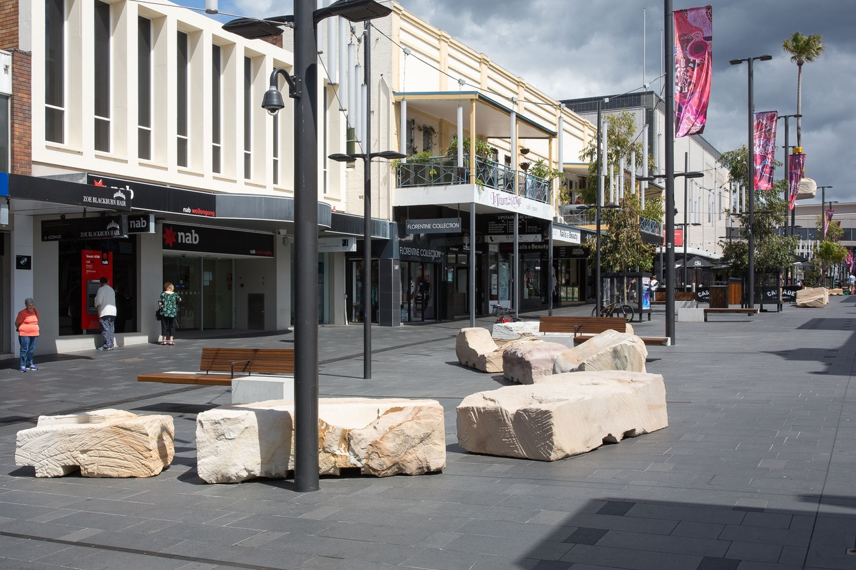 Mike Hewson: Forklift Rocks (installation view) - Crown Street Mall, Wollongong