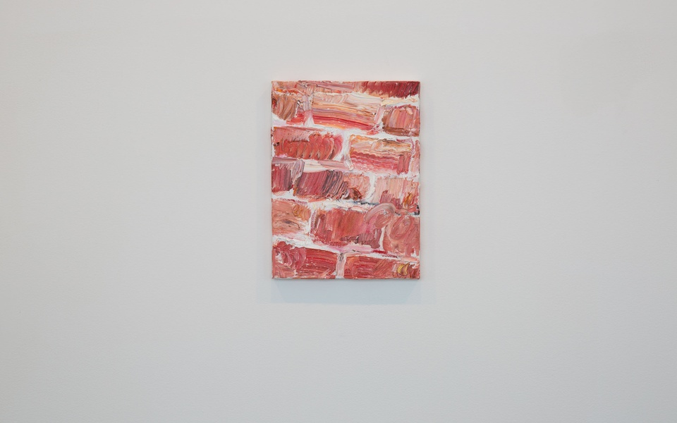 """Mike Hewson: THE GIANT BRICK PAINTING OUTSIDE ON THE ABANDONED BUILDING IS TITLED """"GRANT HOUSES"""" - Reception, Fisher Landau Centre for Art"""