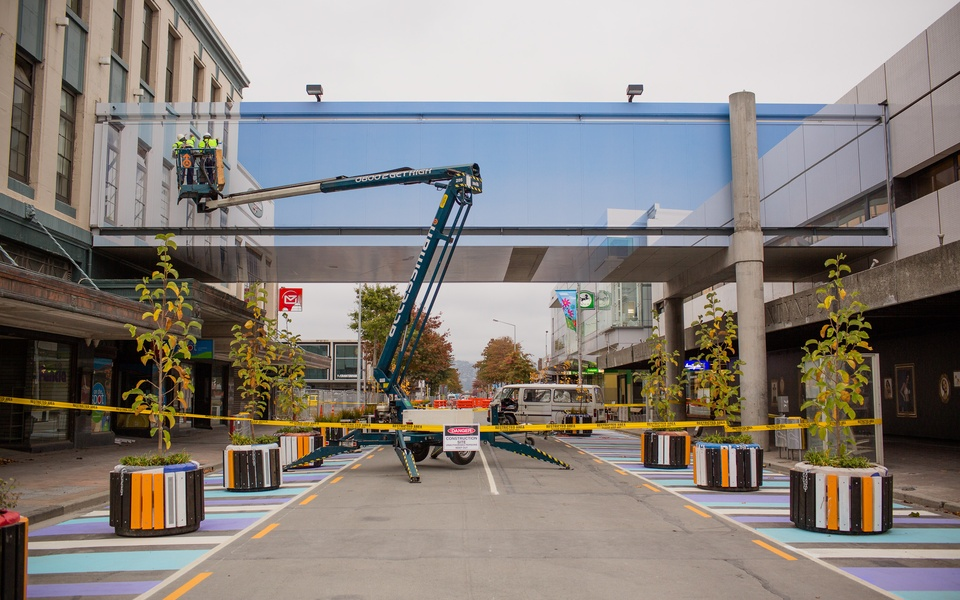 Mike Hewson: (During Installation) - Cnr Cashel and Colombo Street, Christchurch, NZ
