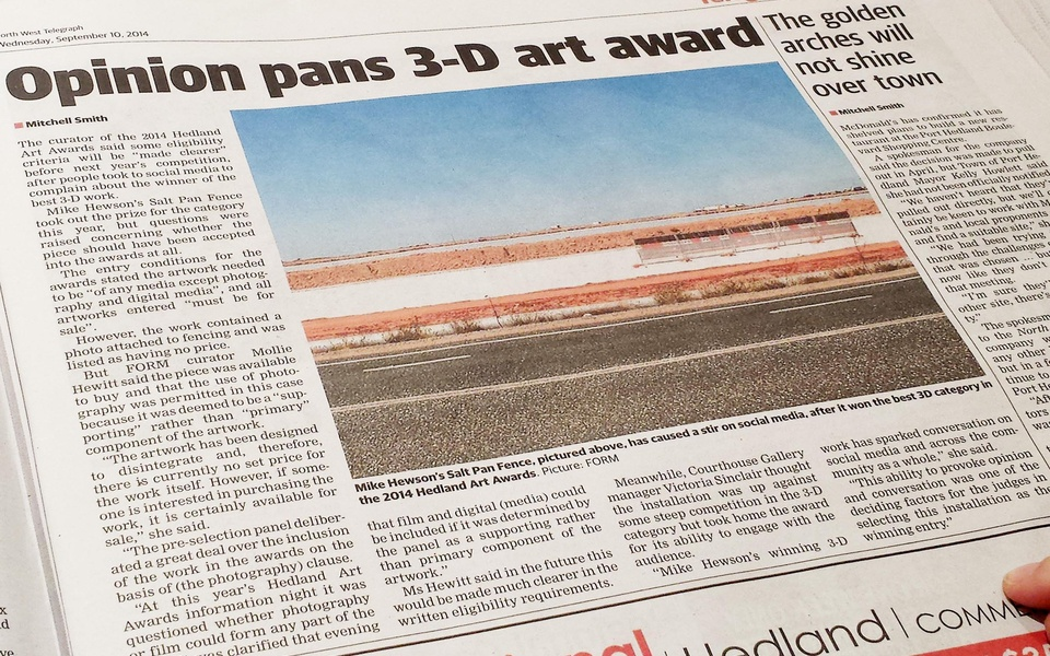 Mike Hewson: (Newspaper excerpt) - Port Hedland, Western Australia
