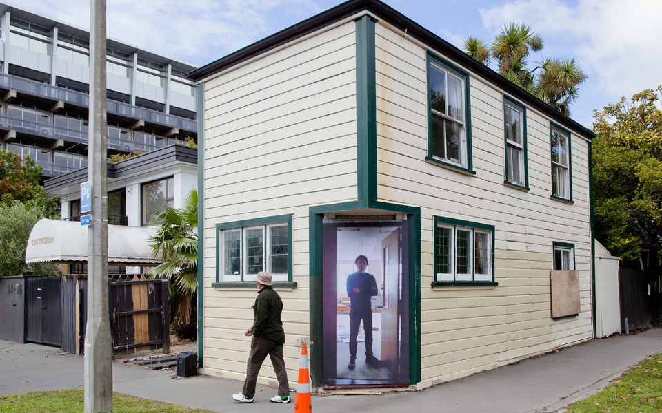 Mike Hewson: Tony D In The Doorway - Cnr Kilmore & Montreal Ave, Christchurch CBD, NZ