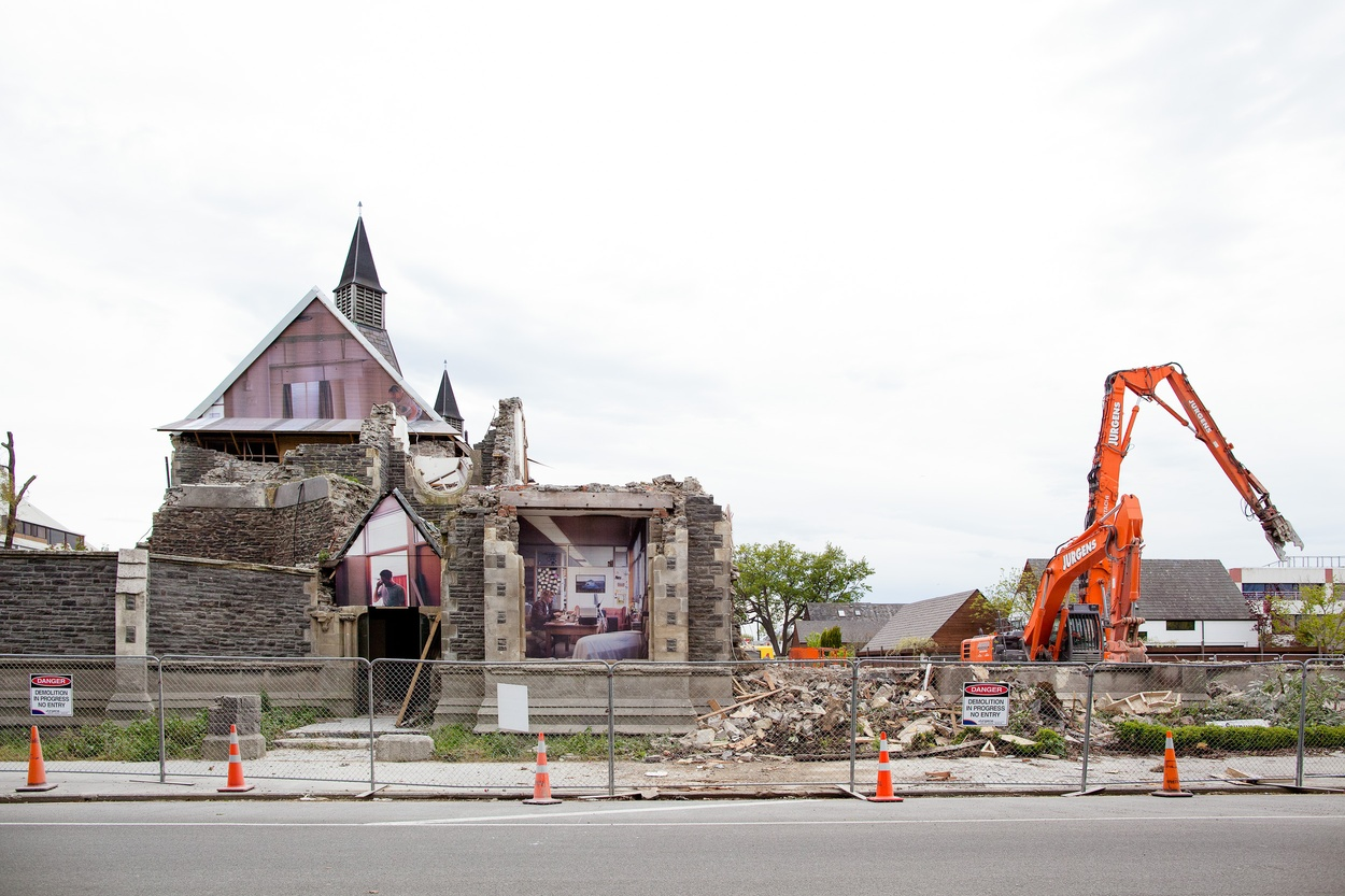 Mike Hewson: (During demolition) - Cnr Kilmore & Montreal Ave, Christchurch CBD, NZ