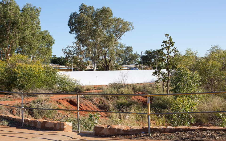 Mike Hewson: (Installation View - with mini knife slice) - Port Hedland, Western Australia