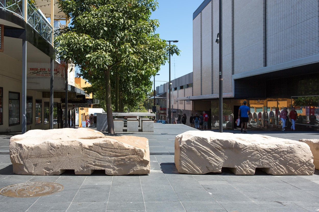 Mike Hewson: Forklift Rock (installation view) - Crown Street Mall, Wollongong