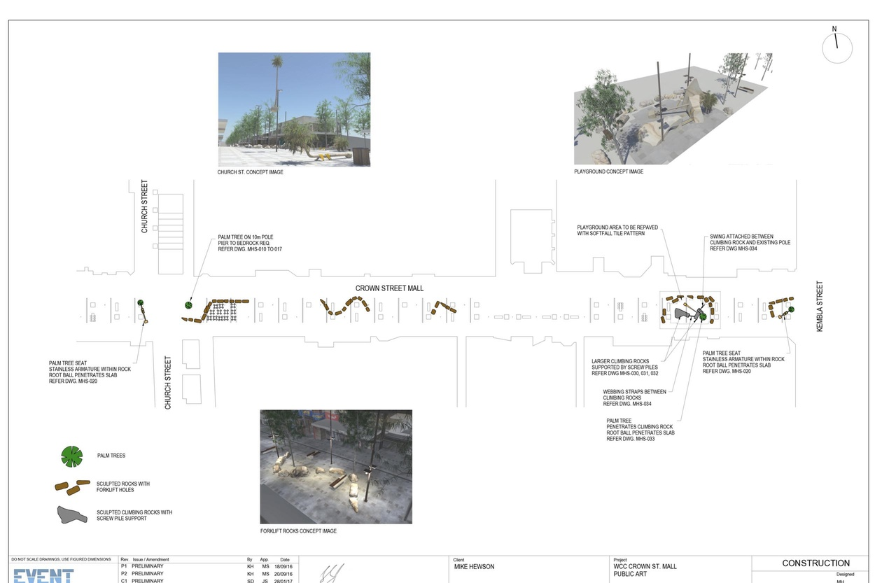 Mike Hewson: Plan view layout of artwork - Crown Street Mall