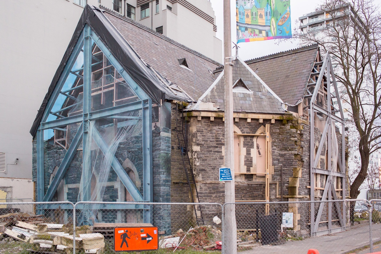 Mike Hewson: Prop Hide (Prop) - Trinity Church, Cnr Manchester St and Worchester St, Christchurch, NZ