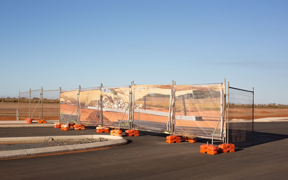Mike Hewson: Blowing Fence I - Port Hedland, Western Australia