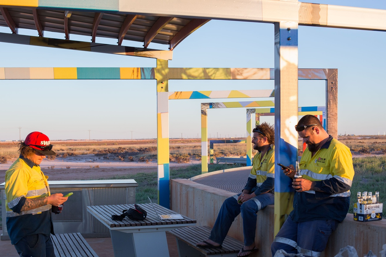 Mike Hewson: (Installation View - local drainage contractors) - Port Hedland, Western Australia