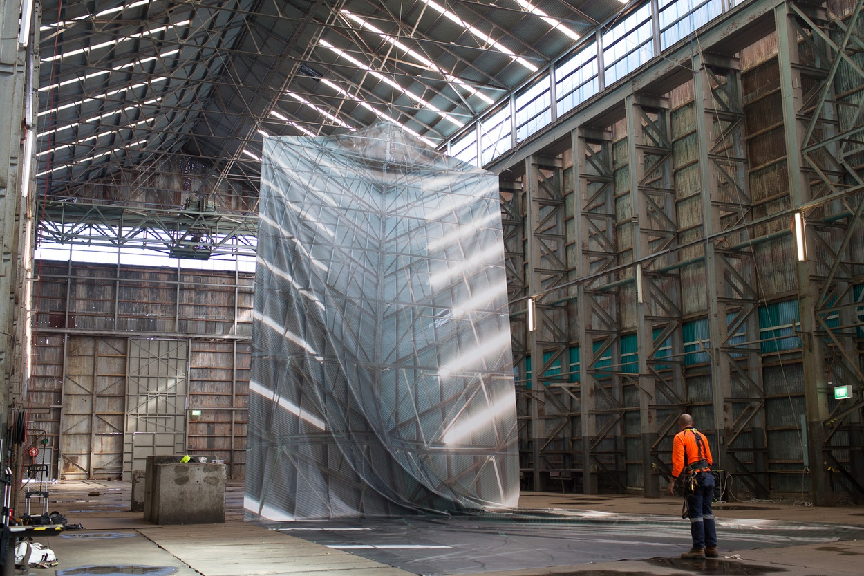 Mike Hewson: (During installation) - Cockatoo Island, Sydney